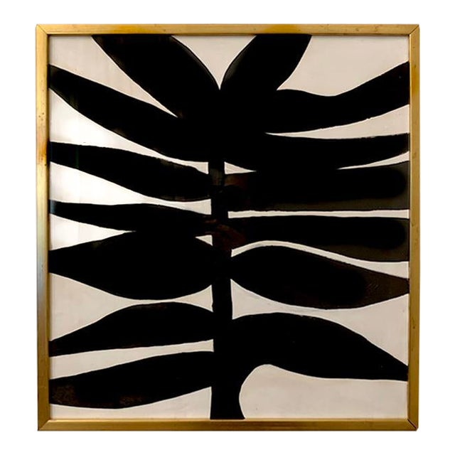 Contemporary Abstract Botanical Acrylic Painting, Framed For Sale