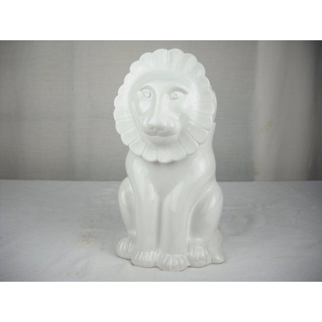 Boho Chic Vintage Italian Ceramic Lion Lidded Canister For Sale - Image 3 of 11