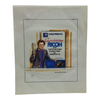 """1980s """"Child Find Inc. - Ricoh"""" Displayco East Original Advertising Drawing For Sale"""