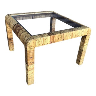 Vintage Wrapped Rattan Square Side Table For Sale