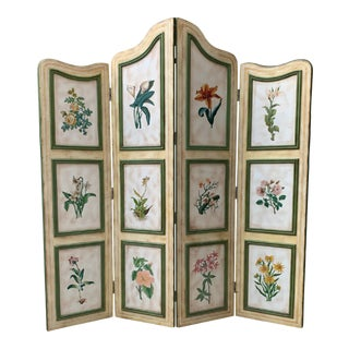 Vintage Early 20th Century French Hand-Painted Floral Botanical Wood Screen
