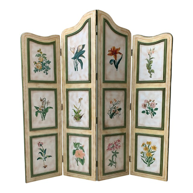 Vintage Early 20th Century French Hand-Painted Floral Botanical Wood Screen For Sale