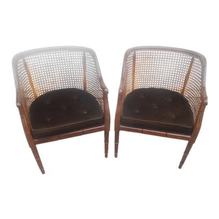 Vintage Mid-Century Modern Faux Bamboo & Cane Barrel Back Club Chairs - a Pair