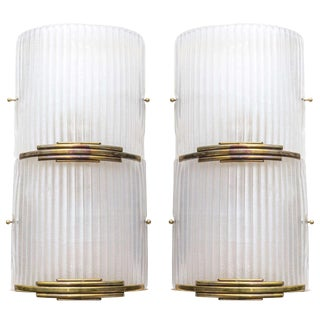 Art Deco Brass and Murano Glass Sconces - A Pair