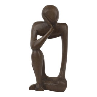 Mid Century Carved Wood Man Sculpture For Sale