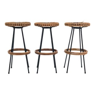 1950s Danish Modern Caned Bar Stools - Set of 3 For Sale