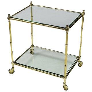 Italian Bamboo Form Brass Bar Cart For Sale