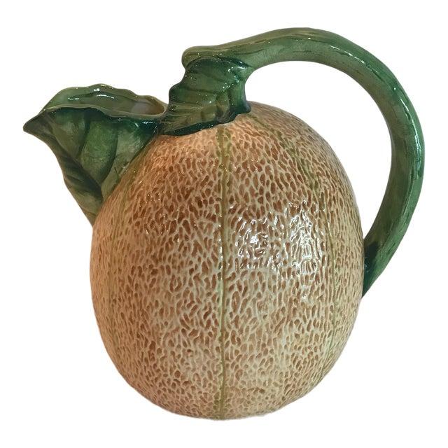 Madcap Cottage Ceramic Cantaloupe Pitcher For Sale