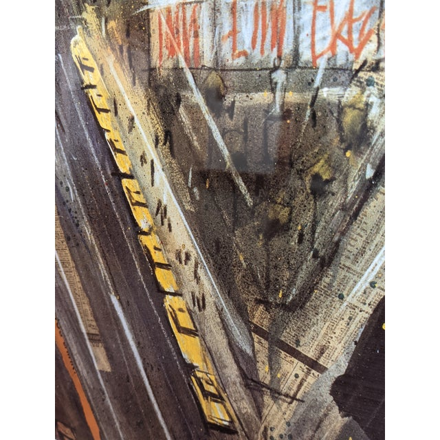 """Lithograph 1980s """"Times Square"""" Cityscape Lithograph, Framed For Sale - Image 7 of 12"""