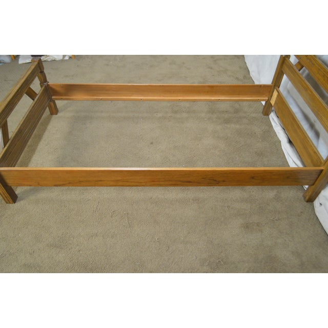 1960s Brandt Ranch Oak Rustic Pair of Sawbuck Twin Beds - a Pair For Sale - Image 5 of 13
