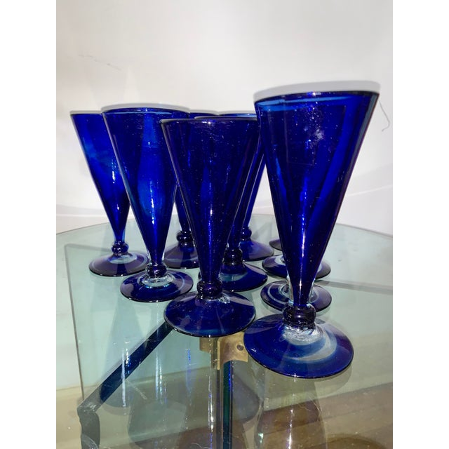 Abstract Vintage Cobalt Blue Shrub Glasses - Set of 10 For Sale - Image 3 of 11
