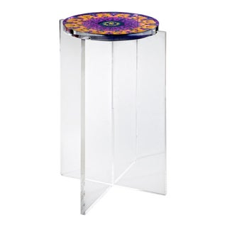 Organic Modern Signed Hand Made Acrylic Mandala Side Table For Sale