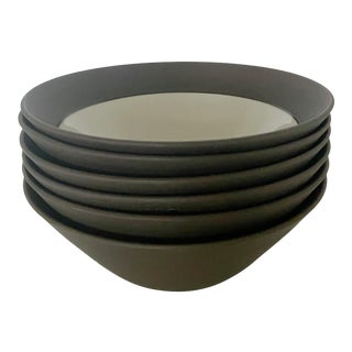 Mid-Century Jens H. Quistgaard for Dansk Matte Flamestone Pottery Cereal Bowls - Set of 6 For Sale