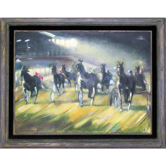 Large Original Oil Painting of Harness Horse Race - Image 1 of 7