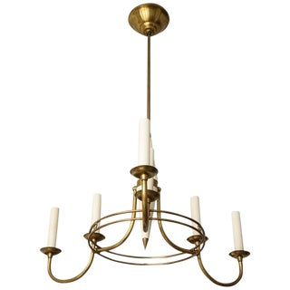 Unusual Mid-Century Italian Brass and Tole Six-Arm Fixture For Sale