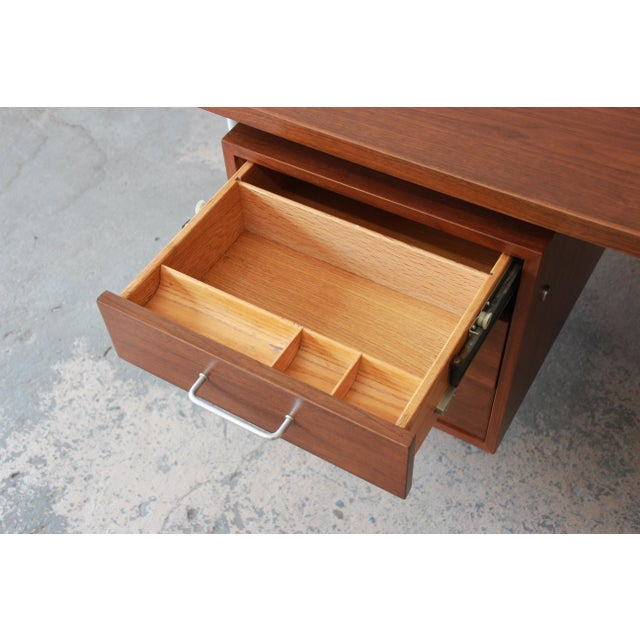 Jens Risom Mid-Century Modern Executive Desk in Walnut, Cane, and Steel For Sale - Image 9 of 13