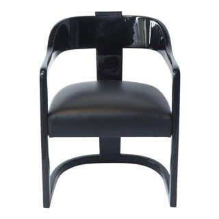 """Set of Six American Modern Black Lacquer """"Ari"""" Chairs For Sale"""