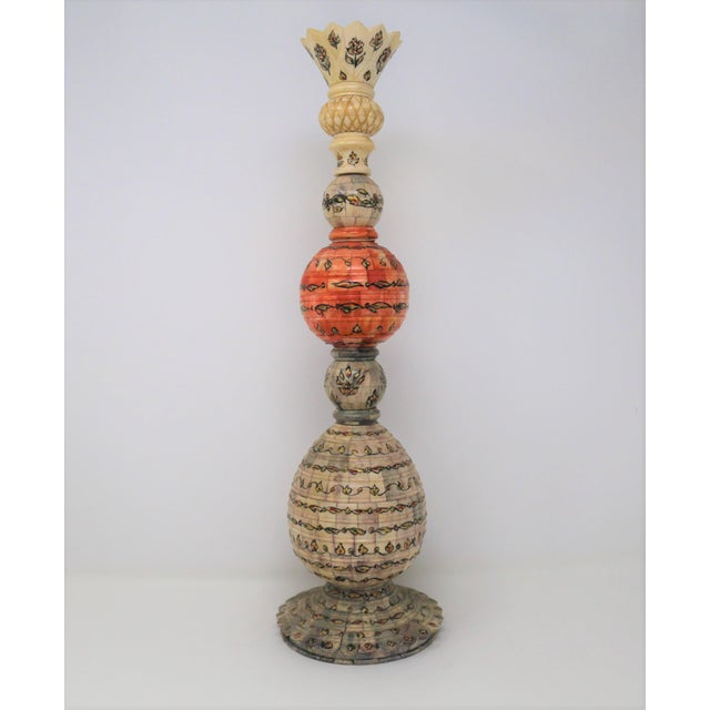 Late 19th Century Antique Orange and Gray Totemic Indian Vessel For Sale - Image 5 of 5