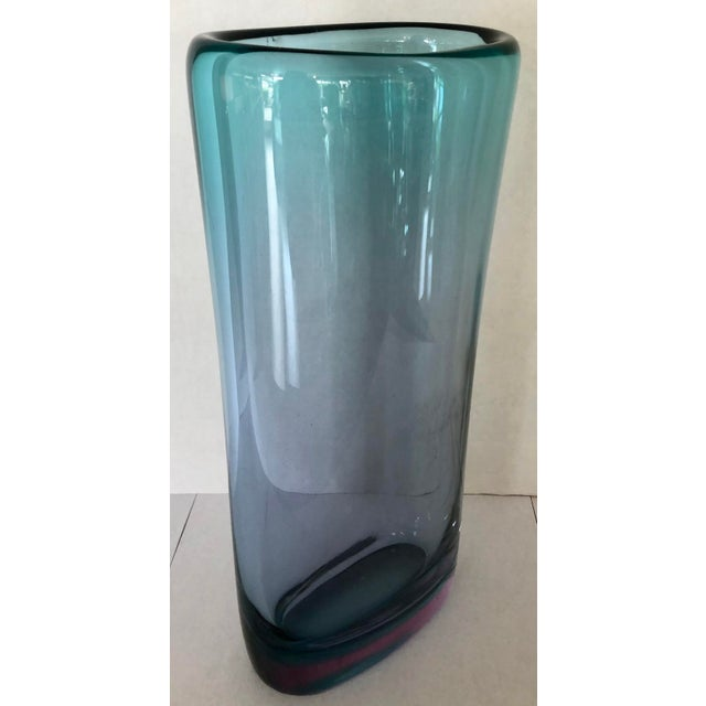 Glass Teal & Purple Thick Murano Glass Vase For Sale - Image 7 of 9