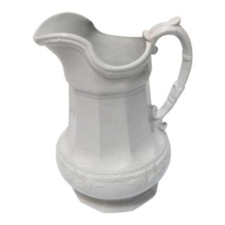 19th Century Ironstone Pitcher with Fig Leaf Pattern For Sale