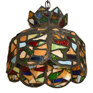 Early 20th Century Multicolored Stained Glass Chandelier For Sale