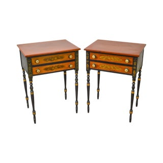 Hitchcock Federal Style Stenciled 2 Drawer Nightstands - A Pair For Sale