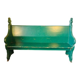 Late 19th Century Vintage Emerald Green Vernacular Gothic Pew For Sale