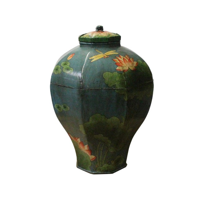 "This is an oriental octagon jar shape display in vintage village rustic teal blue color finish. Dimensions: Dia 13"" x h18""..."