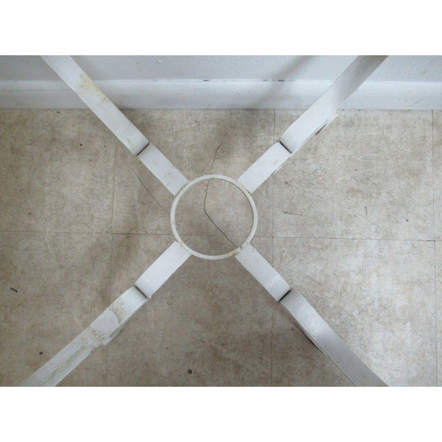 Metal Vintage French White Outdoor Square Patio End Table For Sale - Image 7 of 11
