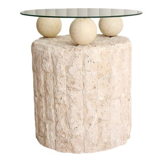 Postmodern Tessellated Mactan Stone Side Table For Sale