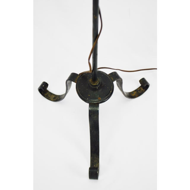 Vintage Arts & Crafts Mission Style Wrought Iron Adjustable Height Floor Lamp For Sale - Image 9 of 13