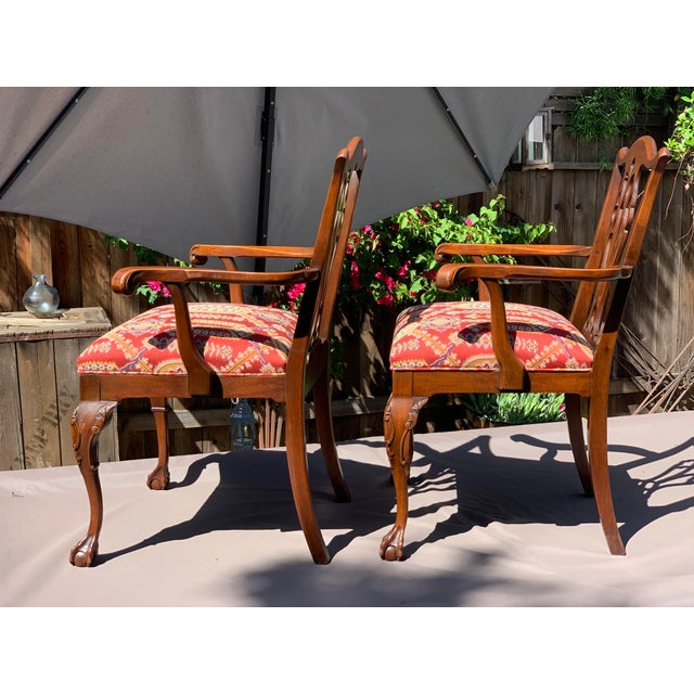 Chippendale 1950s Vintage Mahogany Chippendale Designer Arm Chairs- A Pair For Sale - Image 3 of 11