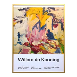 Willem De Kooning Vintage 1977 Abstract Expressionist Lithograph Print Framed Collector's French Exhibition Poster For Sale