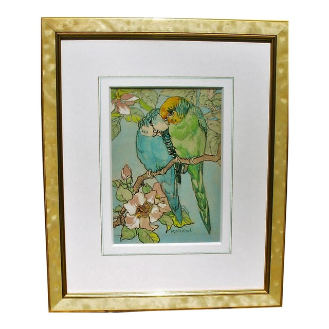 """Budgies"" Gold & Mother-Of-Pearl Framed Watercolor Painting For Sale"