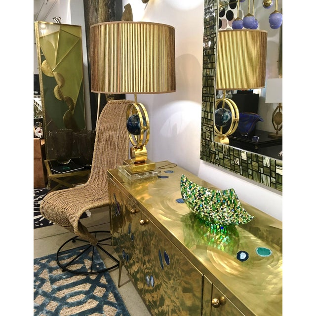 Modern Italian Jewel-Like Green Yellow & 24Kt Gold Murano Art Glass Mosaic Bowl For Sale - Image 10 of 11