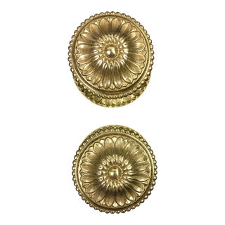 1980s Traditional Spanish Floral Pattern Brass Door Pulls - a Pair