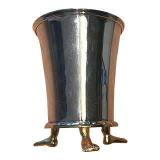 Michael Aram Footed Silver and Gold Ice Bucket For Sale