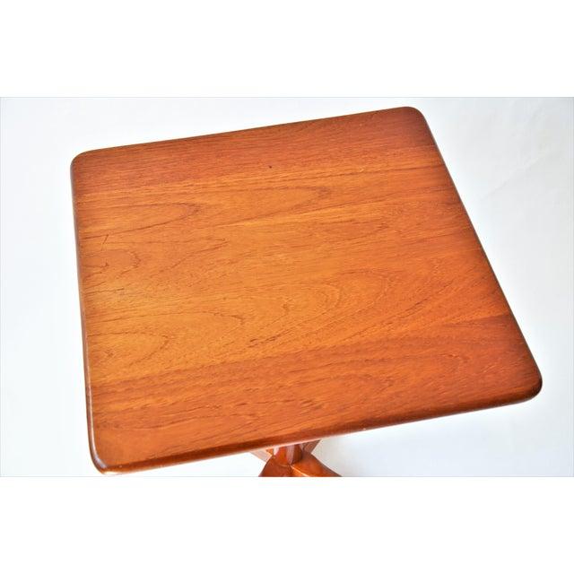 Mid 20th Century 1970s Mid-Century Modern Teak Pedestal Side Table For Sale - Image 5 of 11
