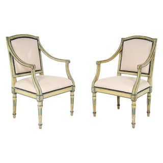 Italian Neoclassical Painted Chairs - A Pair For Sale