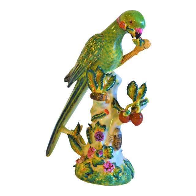 (Final Markdown Taken) Vintage Green Majolica Parrot Figurine For Sale