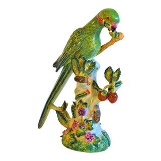 Vintage Green Majolica Parrot Figurine For Sale