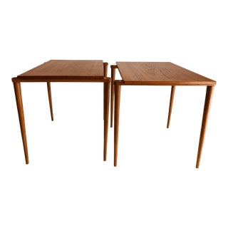1950s Japanese Mid Century Modern Design Yamaguchi Teakwood Pair of Side Tables Stacking Tables Holiday Present Stylish Children's Room For Sale