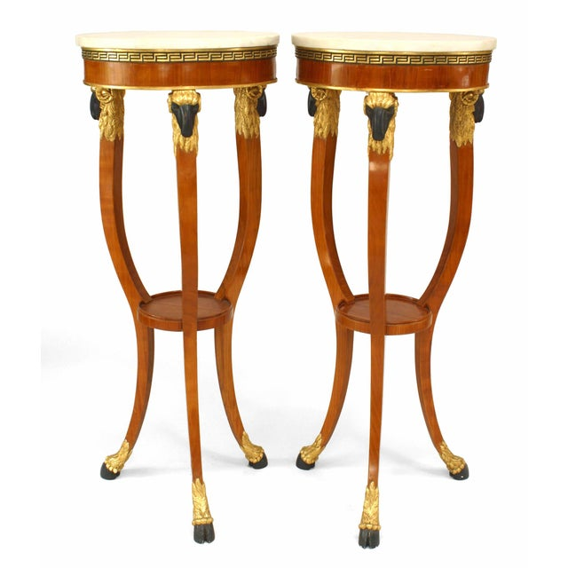 Fruitwood 20th Century Italian Neoclassic Style Pedestals - a Pair For Sale - Image 7 of 7