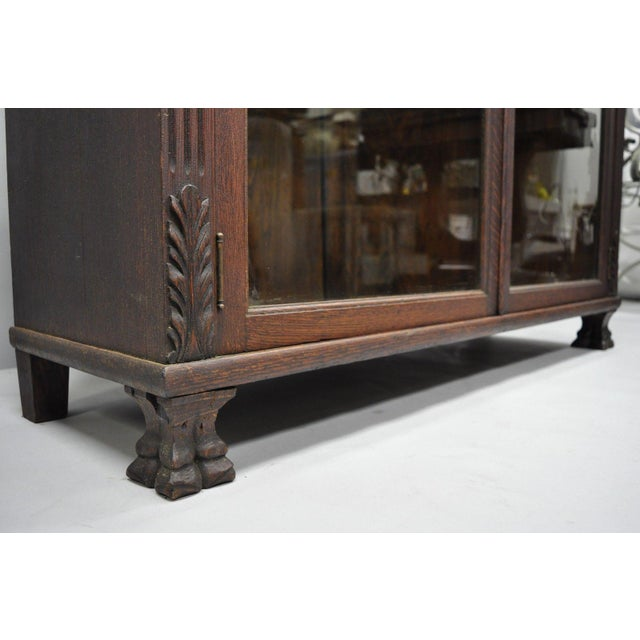 Victorian Oak Glass Two Door Bookcase With Claw Feet Lion For Sale - Image 4 of 13