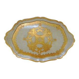 Hollywood Regency White and Gold Gilt Decorative Florentine Tray For Sale