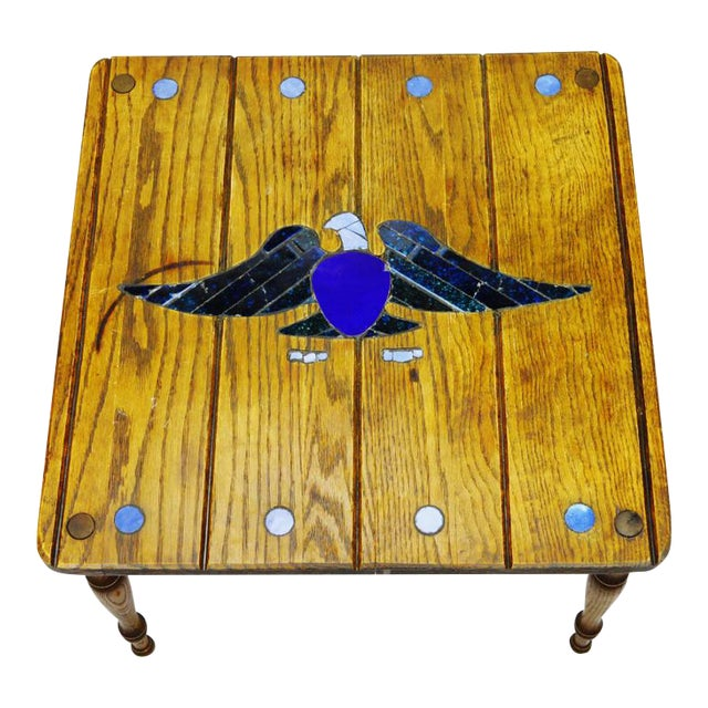 Mosaic Eagle Inlay Wood Accent Table - Image 1 of 9