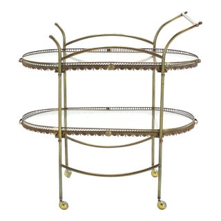 Mid-Century Modern Two-Tier Brass Serving Cart Table For Sale