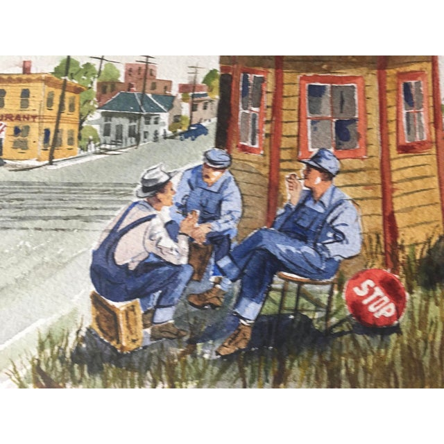 Sky Blue Shooting the Breeze Watercolor by Hal Werneke For Sale - Image 8 of 11