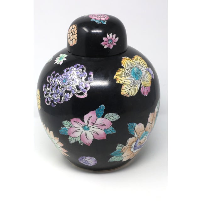 Chinoiserie Black Hand-Painted Melon Jar With Flowers For Sale - Image 3 of 11