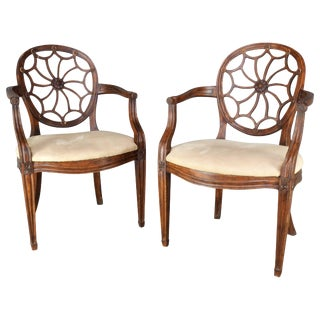Pair of Early 20th Century Spider Back Hepplewhite Chairs For Sale